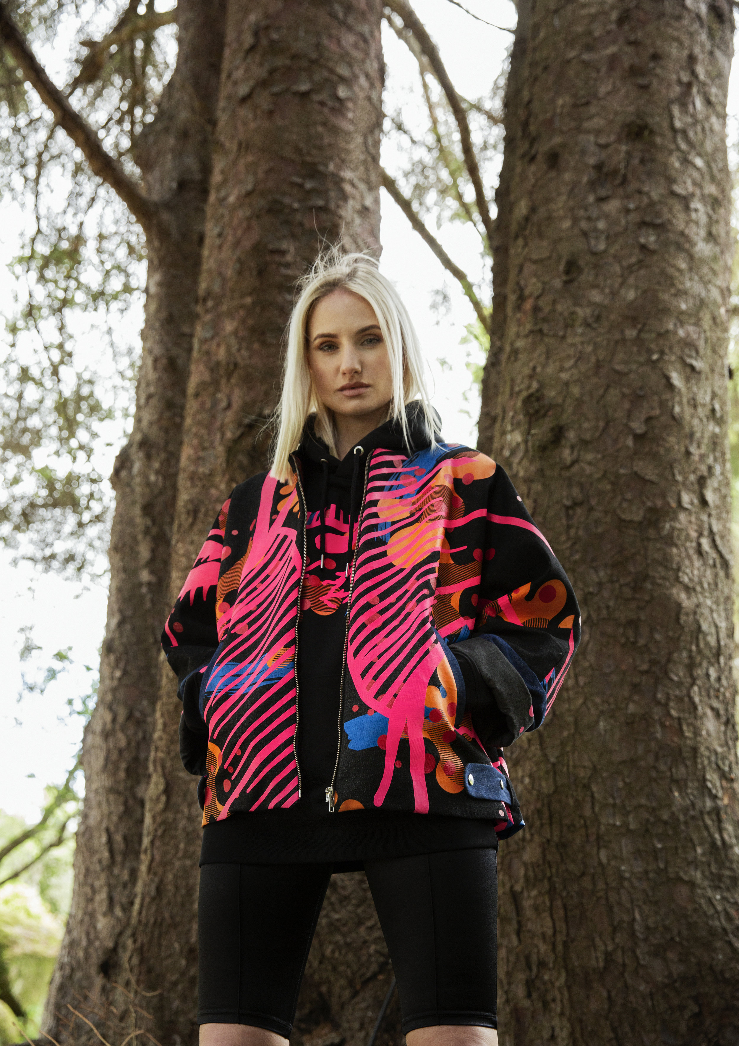 Iconic Bomber - The bespoke limited edition bomber jacket is bold, graphic and obsessive in its creation, with each printed section carefully selected, hand cut and sewn to create a one of a kind piece.
