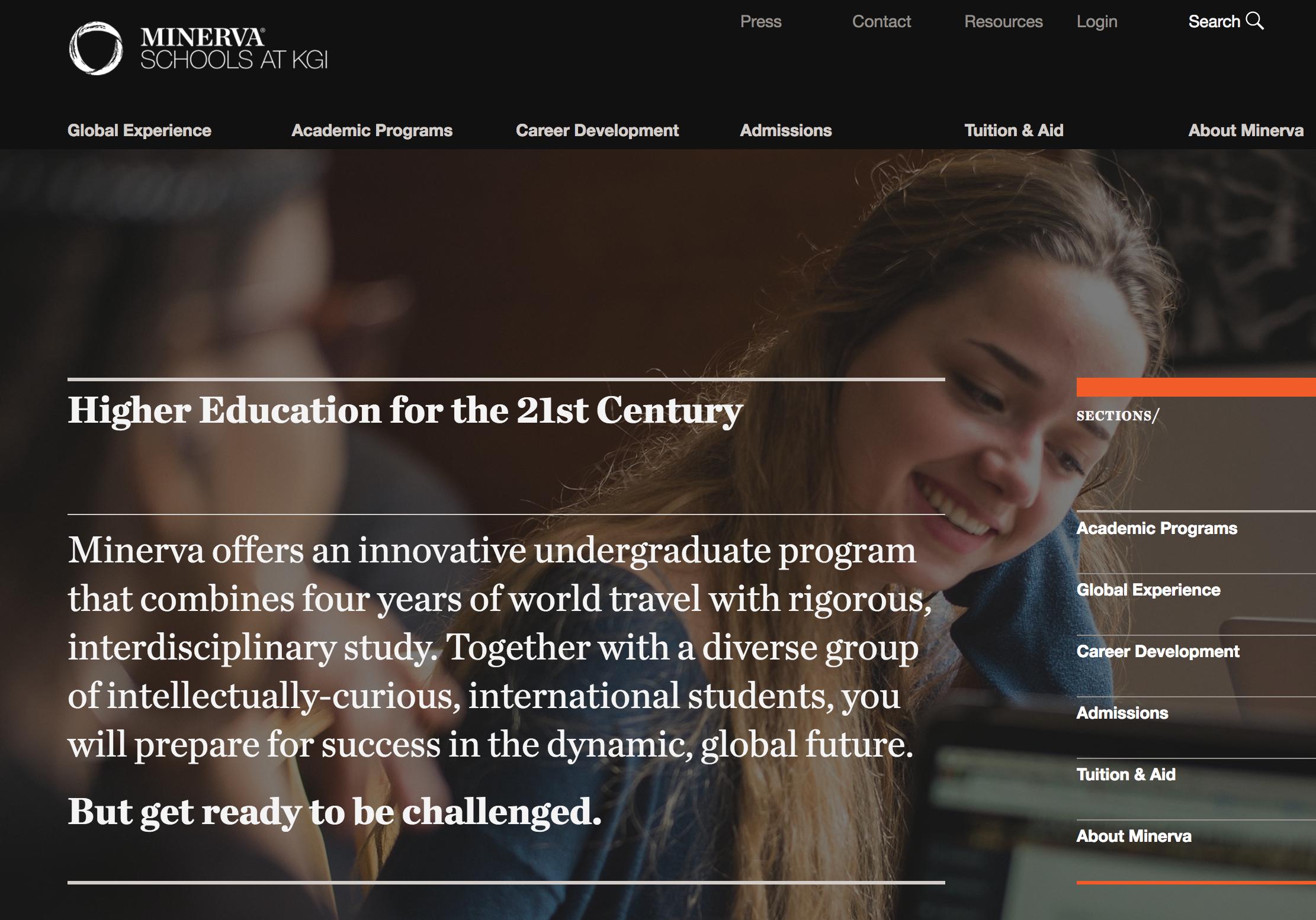Minerva Schools at KGI ウェブサイト