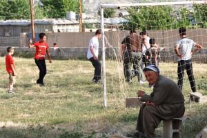 Children having a blast at the new World Orphans soccer field in Iraq.