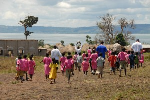 New friends made during a Church-to-Church partnership trip to Uganda.