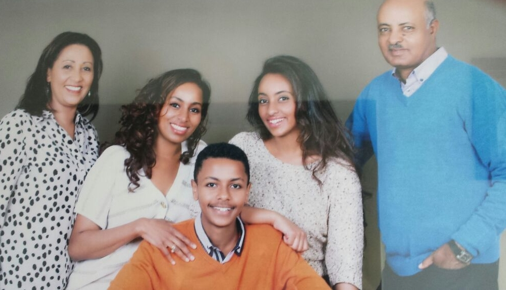 Techalew Negash and family