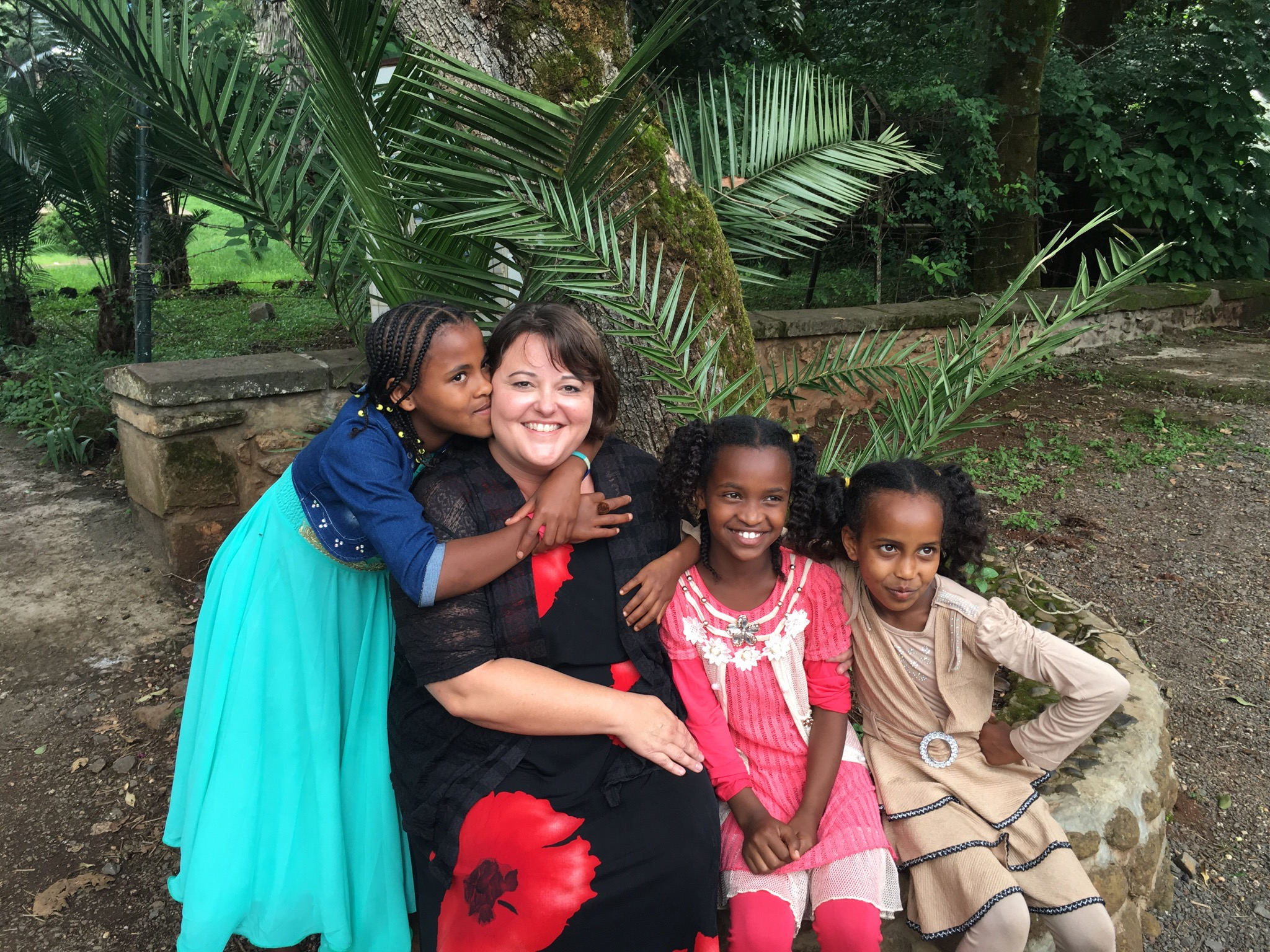 Amie with children in Ethiopia
