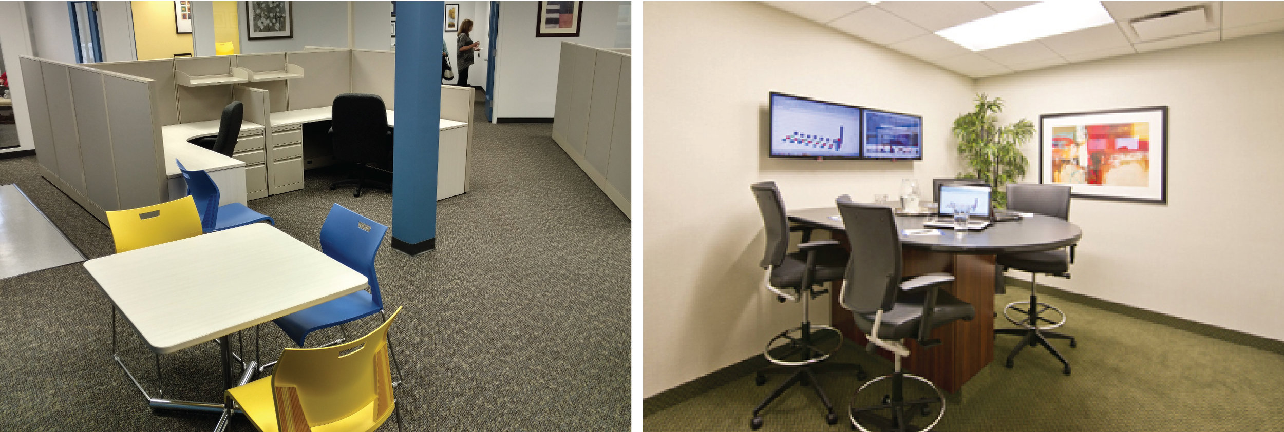 Two office spaces we designed featuring color and artwork.
