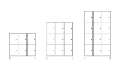 Three Door - (L x W x H mm)990 x 400 x 1000 6 x 44 ltr storage lockers990 x 400 x 1414 9 x 44 ltr storage lockers990 x 400 x 18286 x 44 ltr storage lockersPlain or numbered doors