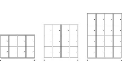 Four Door - (L x W x H mm)1320 x 400 x 10008 x 44 ltr storage lockers1320 x 400 x 1414 12 x 44 ltr storage lockers1320 x 400 x 182816 x 44 ltr storage lockersPlain or numbered doors