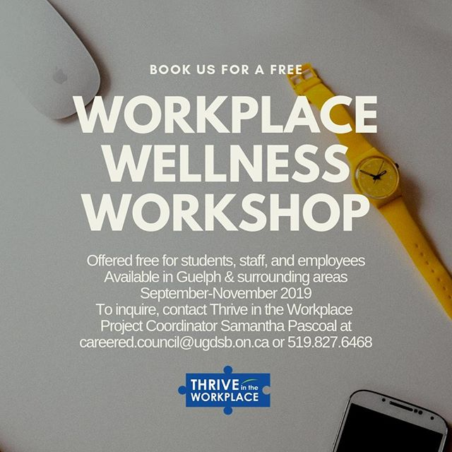 Looking to support your staff in stress management? Book a free workplace wellness workshop today! Available in Guelph, Wellington, Dufferin, Hamilton, Halton, and Kitchener from September-November 2019.