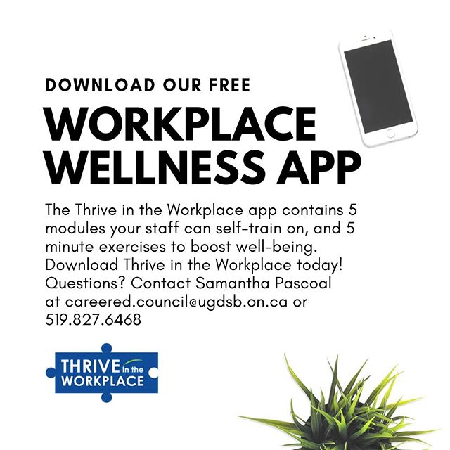 Need a boost at work this summer? Download Thrive in the Workplace, a wellness app that offers 5 minute exercises you can do at your desk, which boost endorphins, serotonin, and well-being!