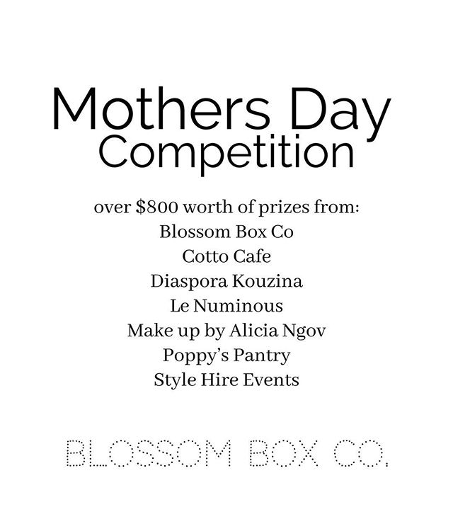 We have teamed up with some of our friends to offer this amazing Mother's Day Giveaway! 💗 Over $800 worth of prizes to be won! To enter you must follow all 7 business pages: @blossomboxco_ $199 Grande Blossom Box @cotto_cafe lunch for two valued up to $80 @diasporakouzina $100 voucher @le_numinous $80 quartz earrings @makeupbyaliciangov make up application & MAC lipstick $150 @poppyspantryadelaide $150 voucher  @stylehireevents $100 voucher Then tag 2 friends in the comments section.  Goodluck guys! We will be randomly selecting a winner on Sunday 12th May 2019. Prize to be collected from our Prospect Location.