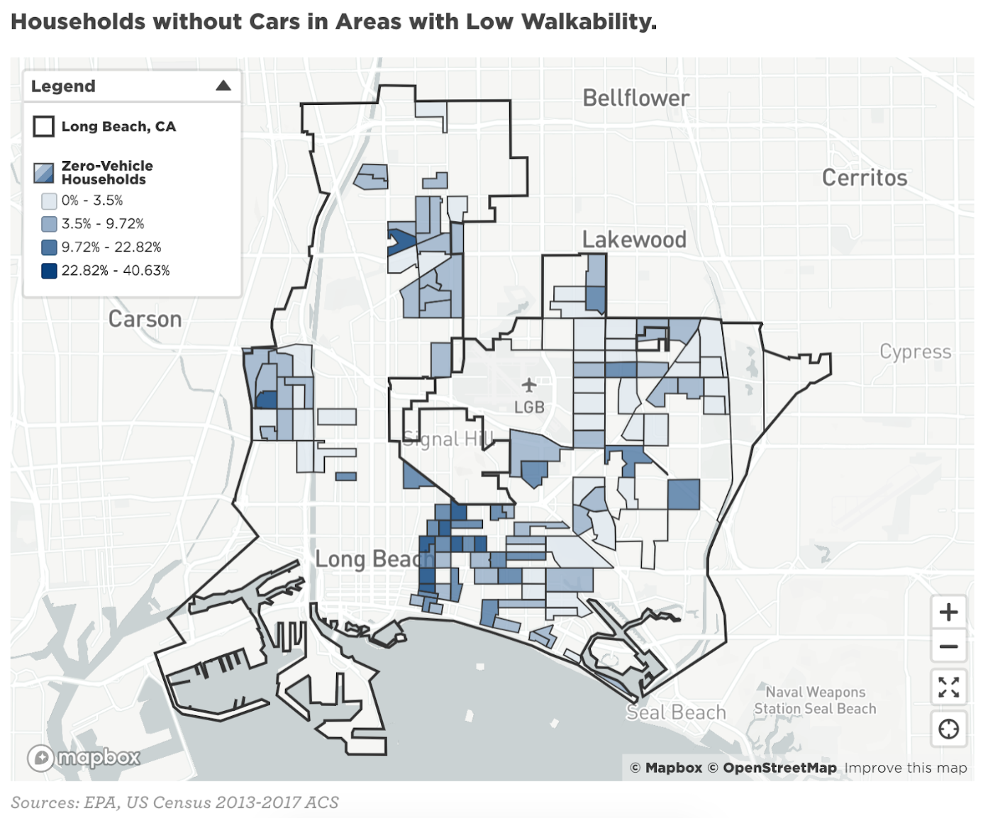 households without cars in areas with low walkability