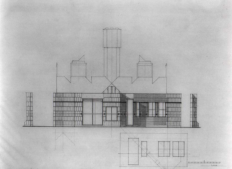 SCHEME IIA, Front Elevation, east, pencil on vellum, July 19, 1959