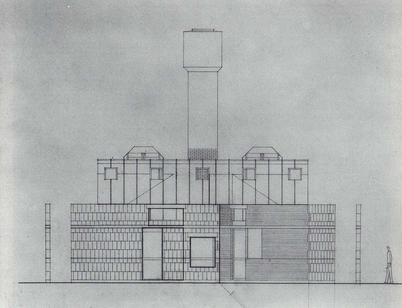 SCHEME IIC, Front Elevation, east, pencil on vellum