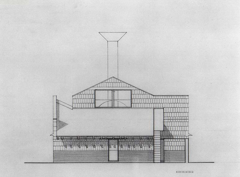 SCHEME IIIB, Front Elevation, east, pencil on vellum