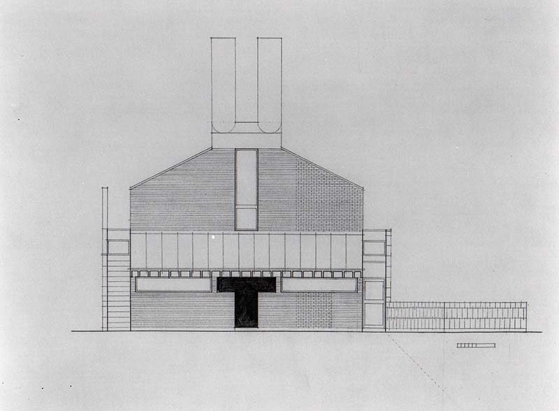 SCHEME IVA, Front Elevation, east, pencil on vellum, July 12, 1961
