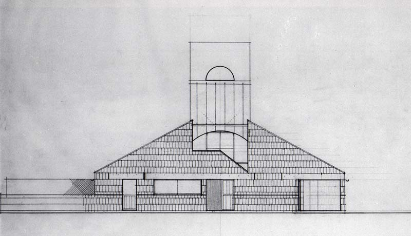 SCHEME IVB, Front Elevation, east, pencil on vellum