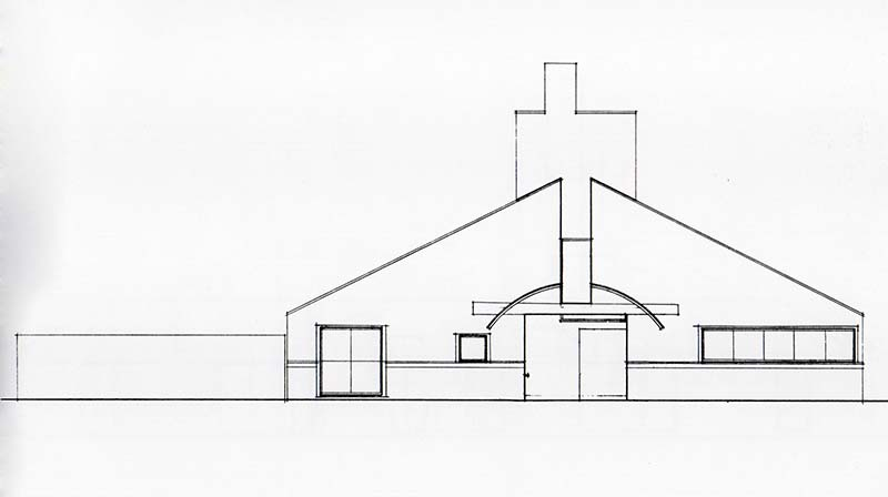 SCHEME VI, Front Elevation, east, final presentation, ink on mylar, December 8, 1962