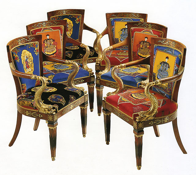 A Suite of Italian Neoclassical Brass-mounted Mahogany and Parcel-Gilt Seat Furniture, First Quarter 19th Century, upholstered in Gianni Versace designed cotton velvet 'Chinese Gardener' and 'Chinese Flora' pattern