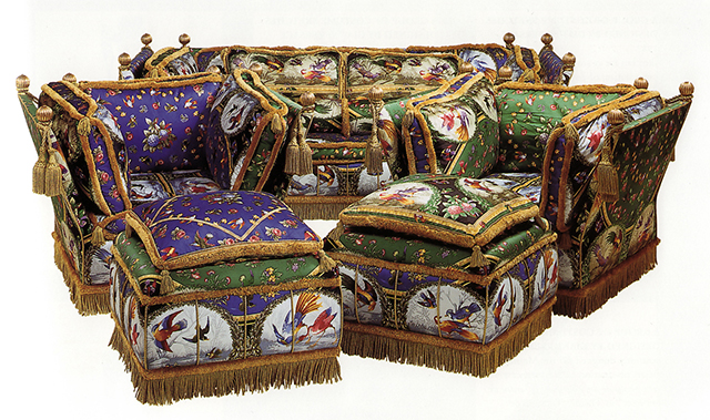 A Suite of Upholstered 'Knole' Seat Furniture Designed by Gianni Versace, upholstered in cotton satin duchesse 'Raineri Birds' pattern