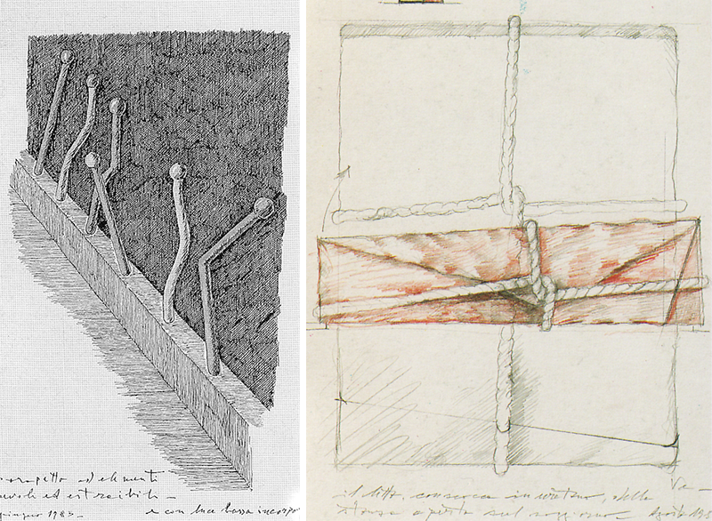 ABOVE LEFT: Drawing of the luminous balustrade on the mezzanine; ABOVE RIGHT: Drawing of the bed cover. Col.: Marc-Andre Rubin, Paris [1]