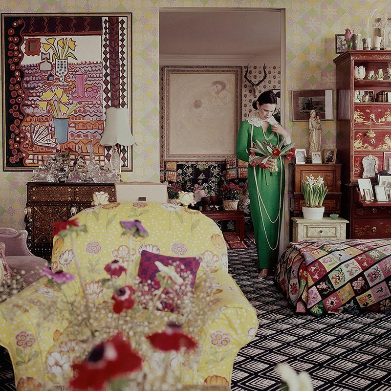 Gloria Vanderbilt in her living room,photographed by Horst P. Horst, Vogue, June 1975