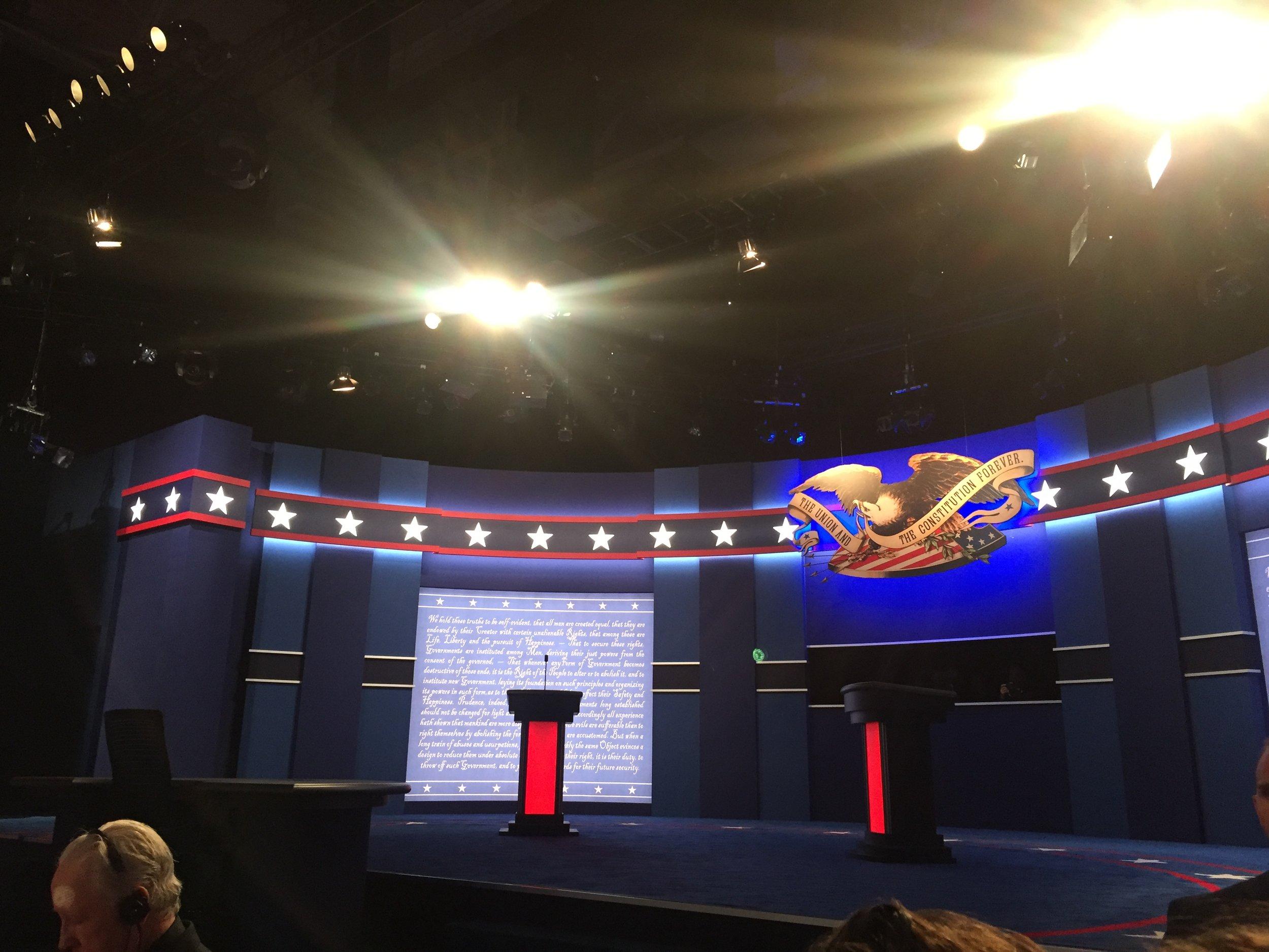 Sam Gallen/Riverdale Review  Debate Podium Before First Debate.
