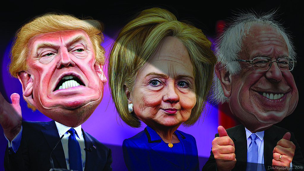 Photos courtesy of Flickr  An illustration of Donald Trump, Hillary Clinton, and Bernie Sanders.