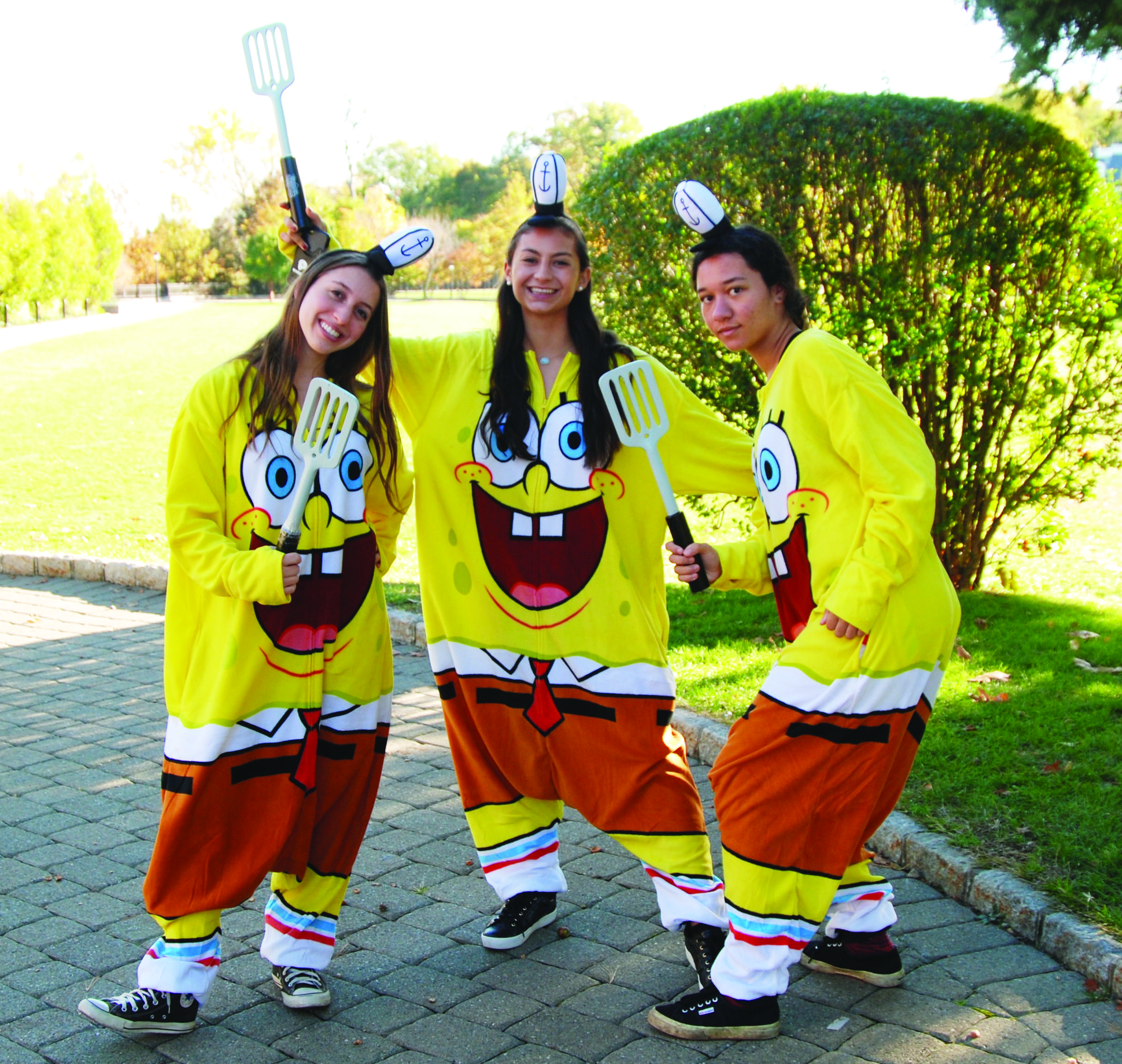 Amanda Simpson/Rivedale Review  Seniors of Girls' Varsity SOccer Dress in Spongebob Onsies.