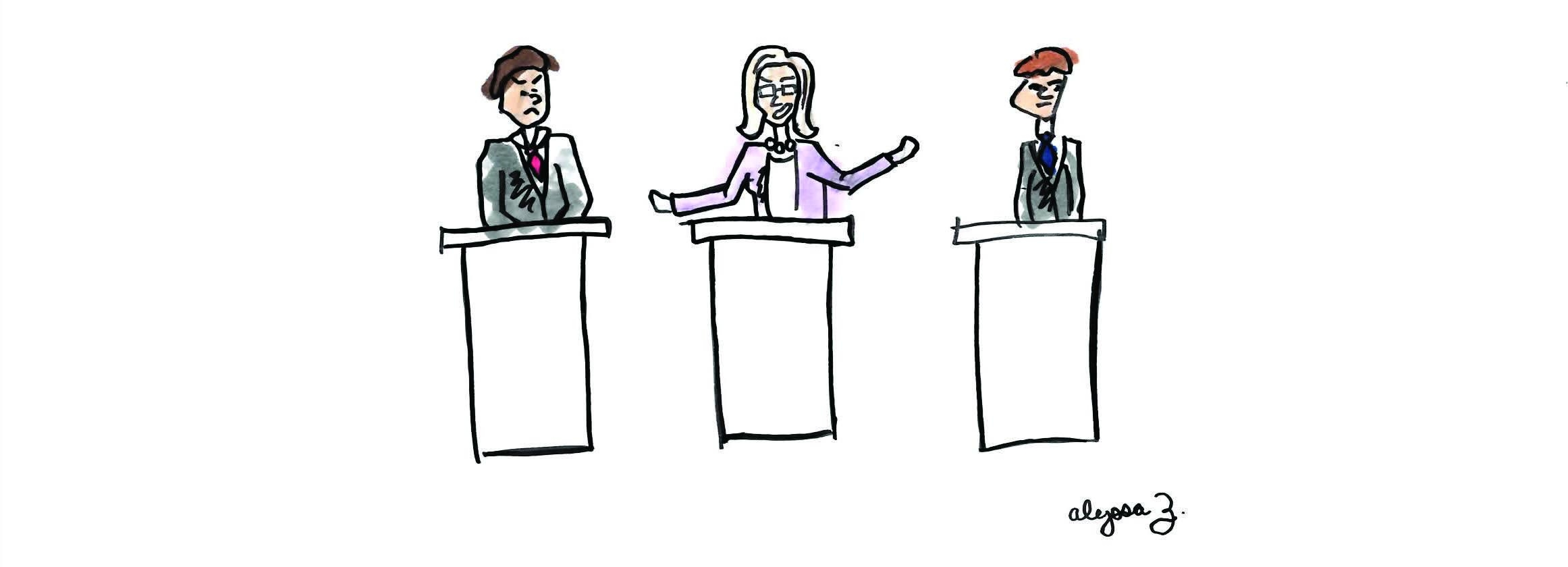 Alyssa Zavattero/Riverdale Review  Cartoon of a Student Debate Framed as a Presidential Debate.