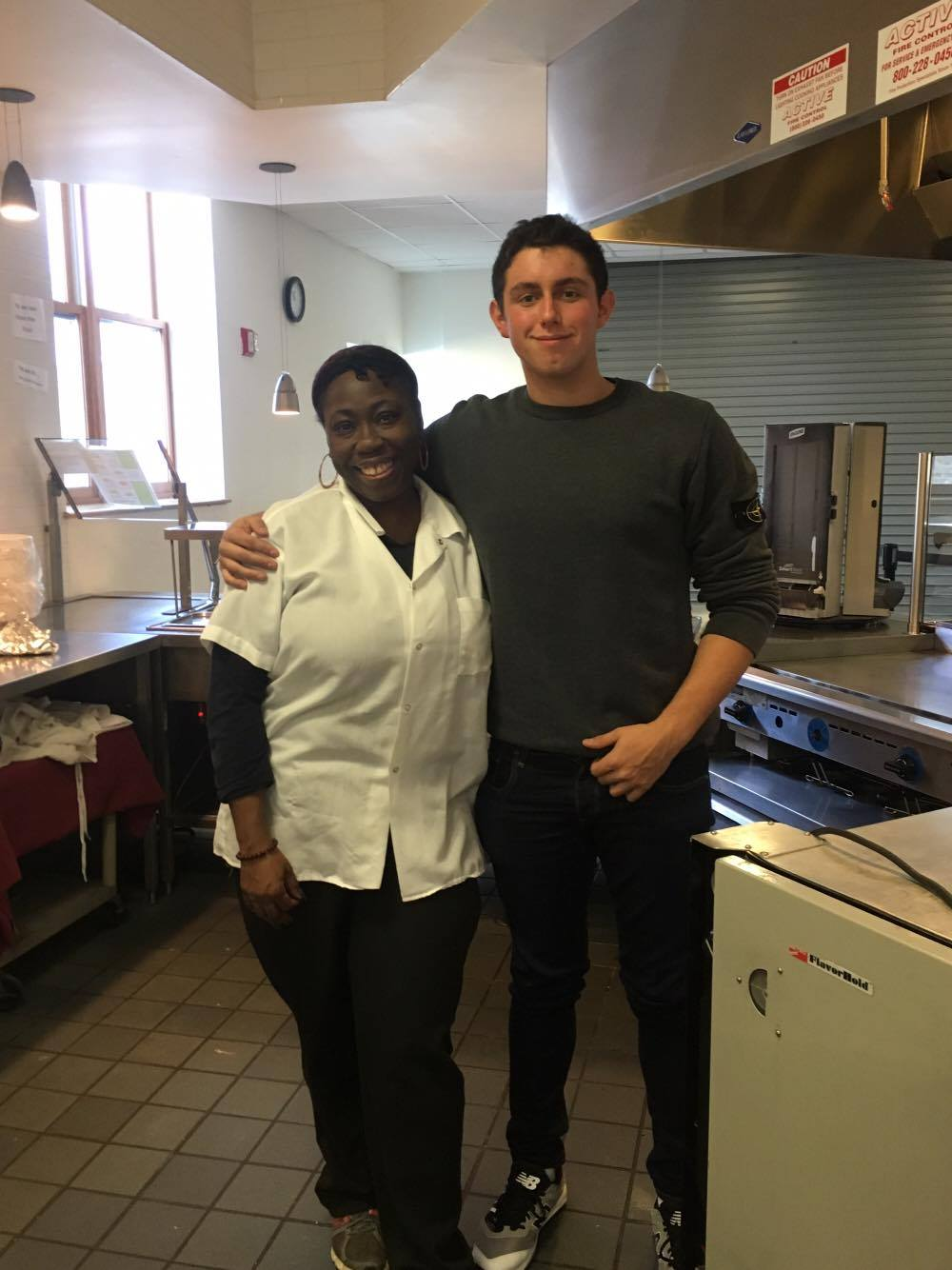Photo Courtesy of Ross Krakower.  Ms. Nicole and Ross Krakower in the Student Center Cafeteria.