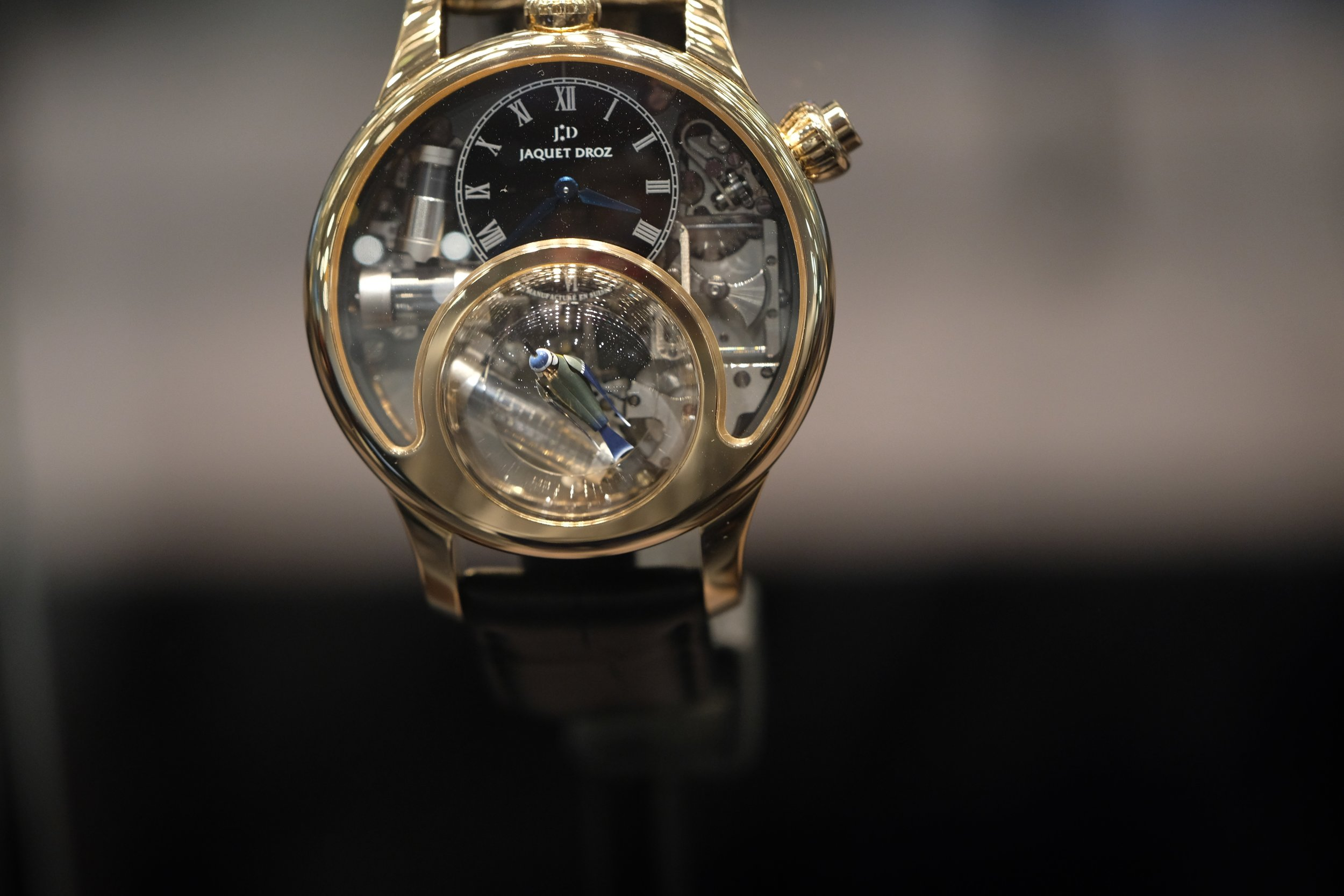 PHOTO COURTESY OF THE RIVERDALE REVIEW   JAQUET DROZ CHARMING BIRD AUTOMATON