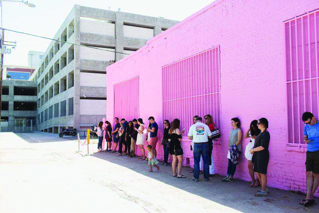 photo courtesy of the the riverdale review   New Yorkers in line for the pop-up exhibit, The museum of ice cream
