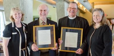 From left to right: Bishop Sue Haupert-Johnson 95T (president of the Candler Alumni Board);Robert (Bob) N. Clarke 58T;Allan Sandlin 89T;Dean Jan Love.