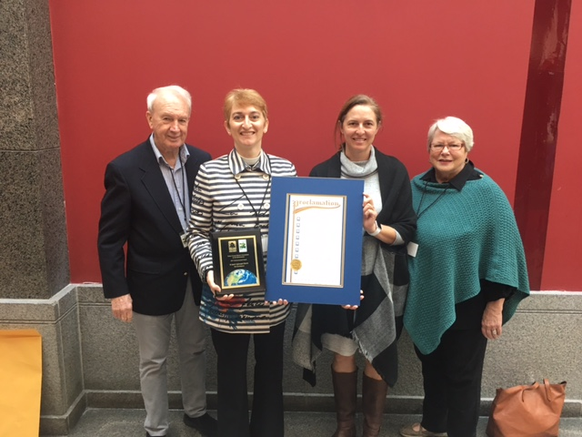 Accepting the award, from left to right: Facilities Manager Pat Cobb, Rector Rev. Licia Affer, Senior Warden Claire Davis, and Buildings & Grounds committee member Merrill Ellis.
