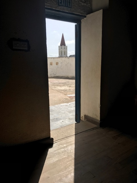 The steeple on Christ Church Cathedral, Anglican Diocese of Cape Coast taken from the auction room in Cape Coast Castle where slaves were sold.