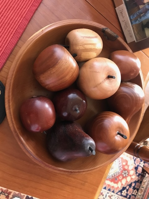 Wooden bowl & fruit, made by Frank Allan.