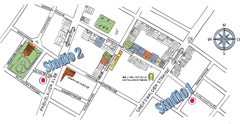 Studio 2:    The Center, Mülhauser Str. 6, 10405 Berlin    Studio 1:   The Center, Esmarchstr. 5, 10407 Berlin