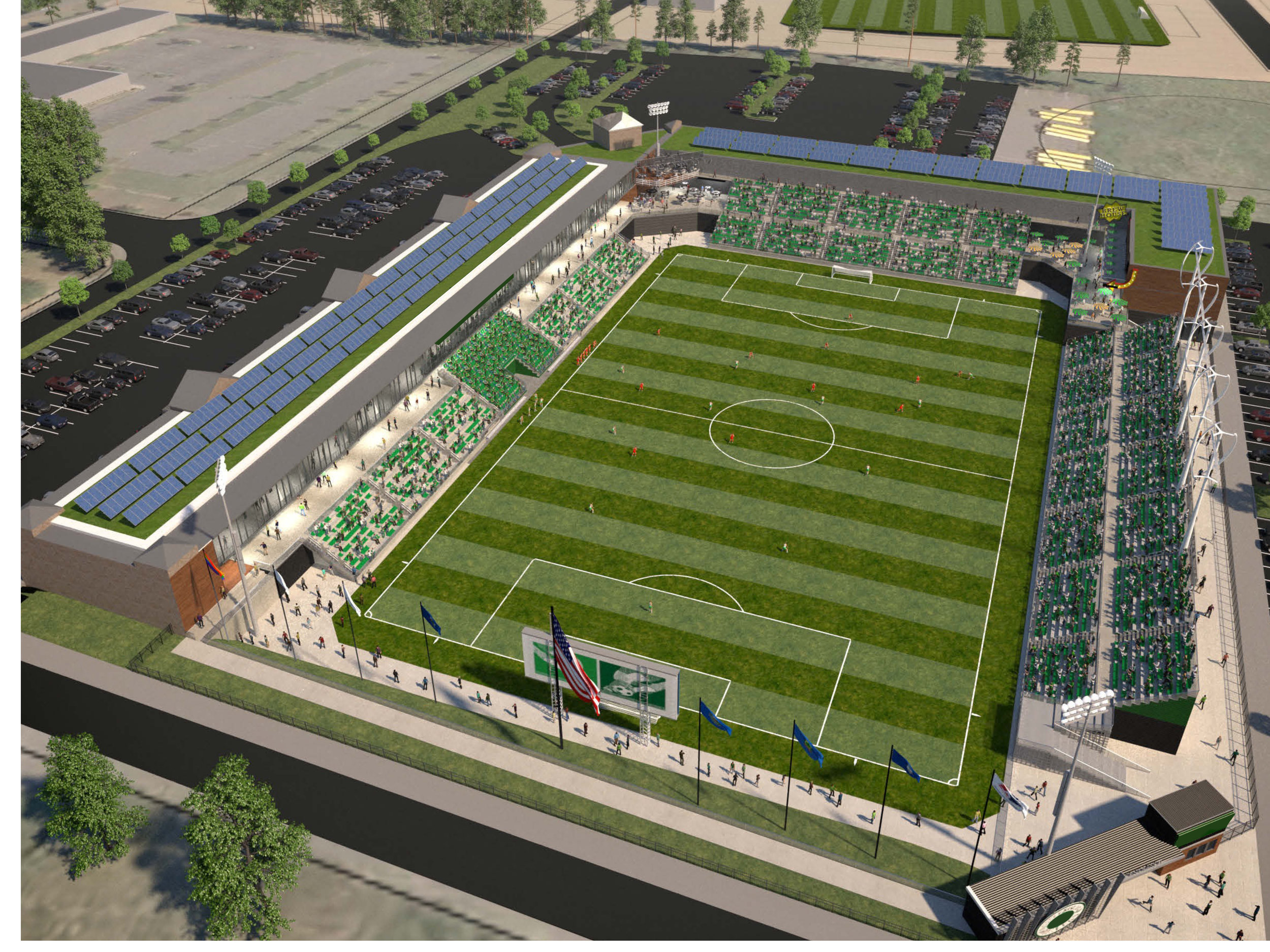 A conceptual rendering of the stadium. (Design not final. Rendering courtesy Stantec.)