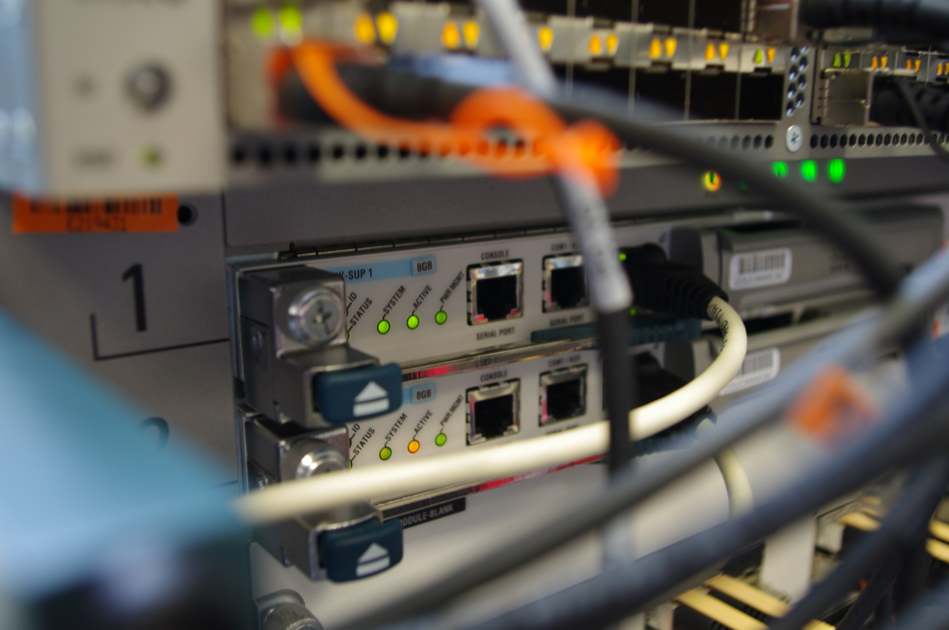 Image of a network router with cables plugged in