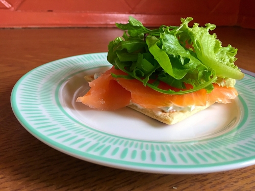 Photo Credit:  Anna Bryant   Potato Scones are more like potato flatbreads, but still delicious. Like any great carb, there are a number of ways you can eat it. My favorite was to take it home with some smoked salmon and make open face sandwiches.