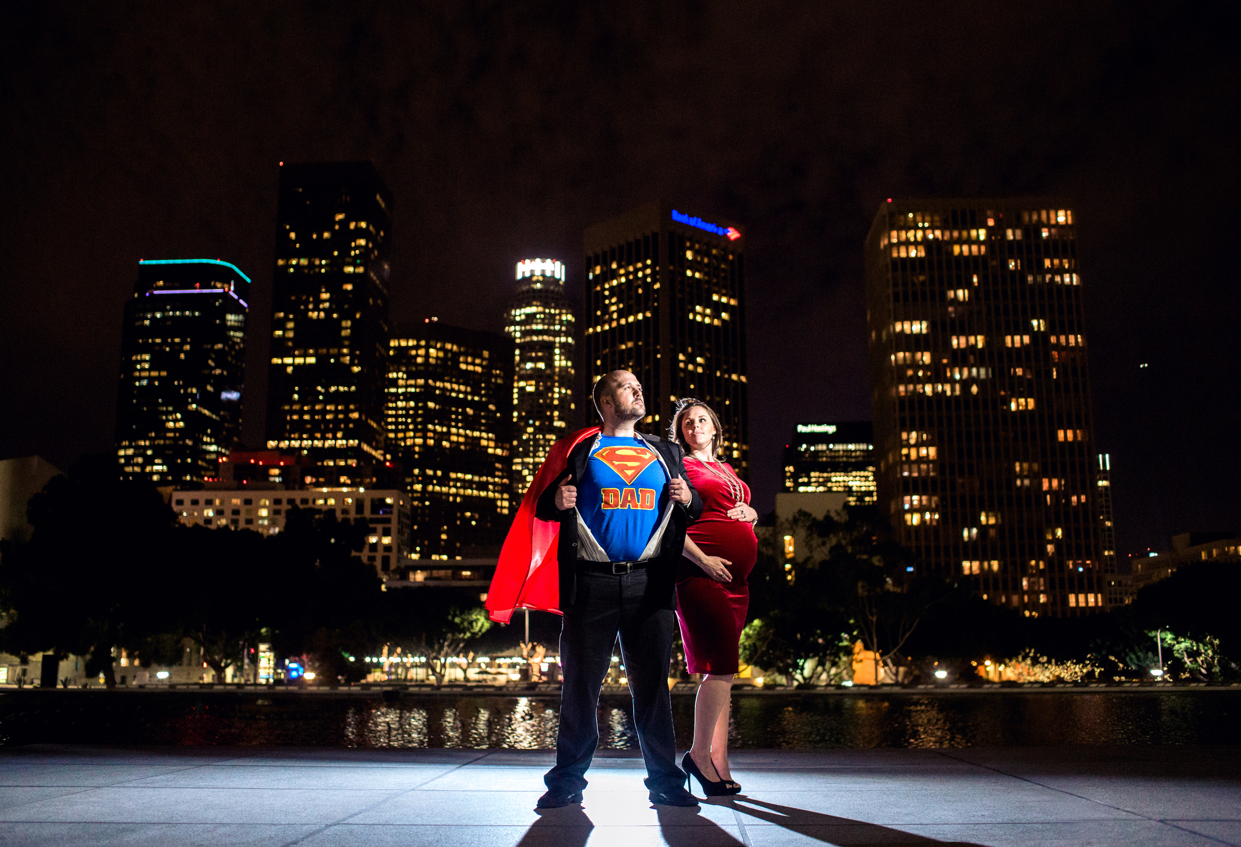Night Super Dad Themed Los Angeles Maternity Session
