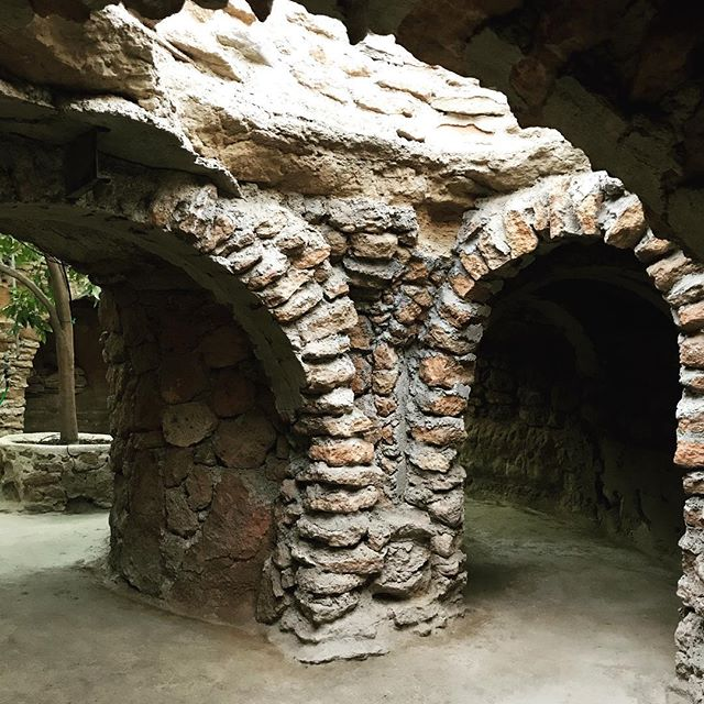 The arches in the chapel underground feature some of Baldassare's clever recycling. #barbedwire #mattresssprings #rebar
