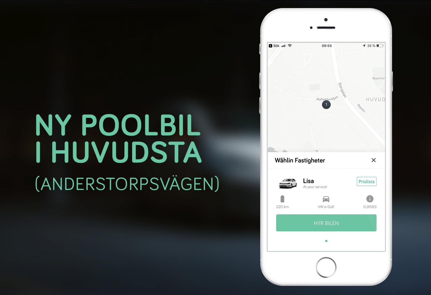 Anderstorpsvägen - Tillsammans med Wåhlin Fastigheter erbjuder vi boendei området att hyra VW eGolf via vår app.Anderstorpsvägen 4, 171 51 Solna