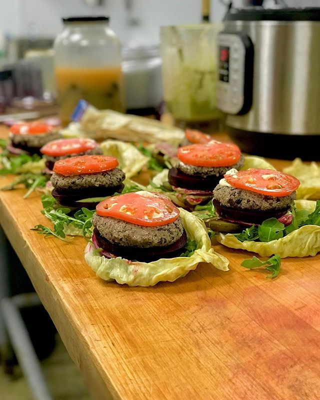 Come by this week and try our new Double Burger! Beet patty, quinoa/black bean patty, cultured cashew dip, tomato, arugula, pickles, all wrapped in a fermented cabbage leaf 🍔  #vegan #organic #fermentedfoods