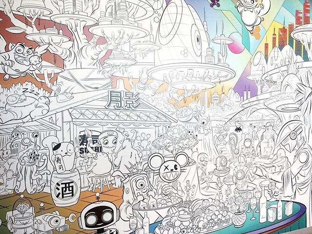 How about a space-themed coloring book mural? Why not 🤷🏻‍♀️👊 I recently had the pleasure of collaborating with one of the most talented artist weirdos I know, @efraindesigns. We worked together to illustrate this massive, colorable mural for an office in Sunnyvale, CA. The piece is a hodgepodge of quirky randomness that inspires both of us, some anime influence, some mid 70s sci-fi, add big city vibes, and top it off with steady hands & precision. I think this is the first of many 🙏 💕 thank you again Efrain, t'was a pleasure.