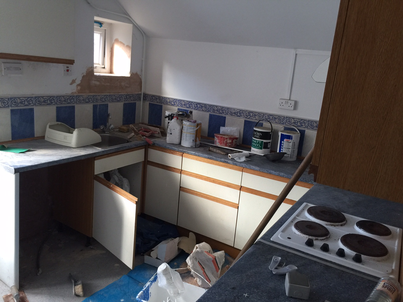 Kitchen, now the bathroom
