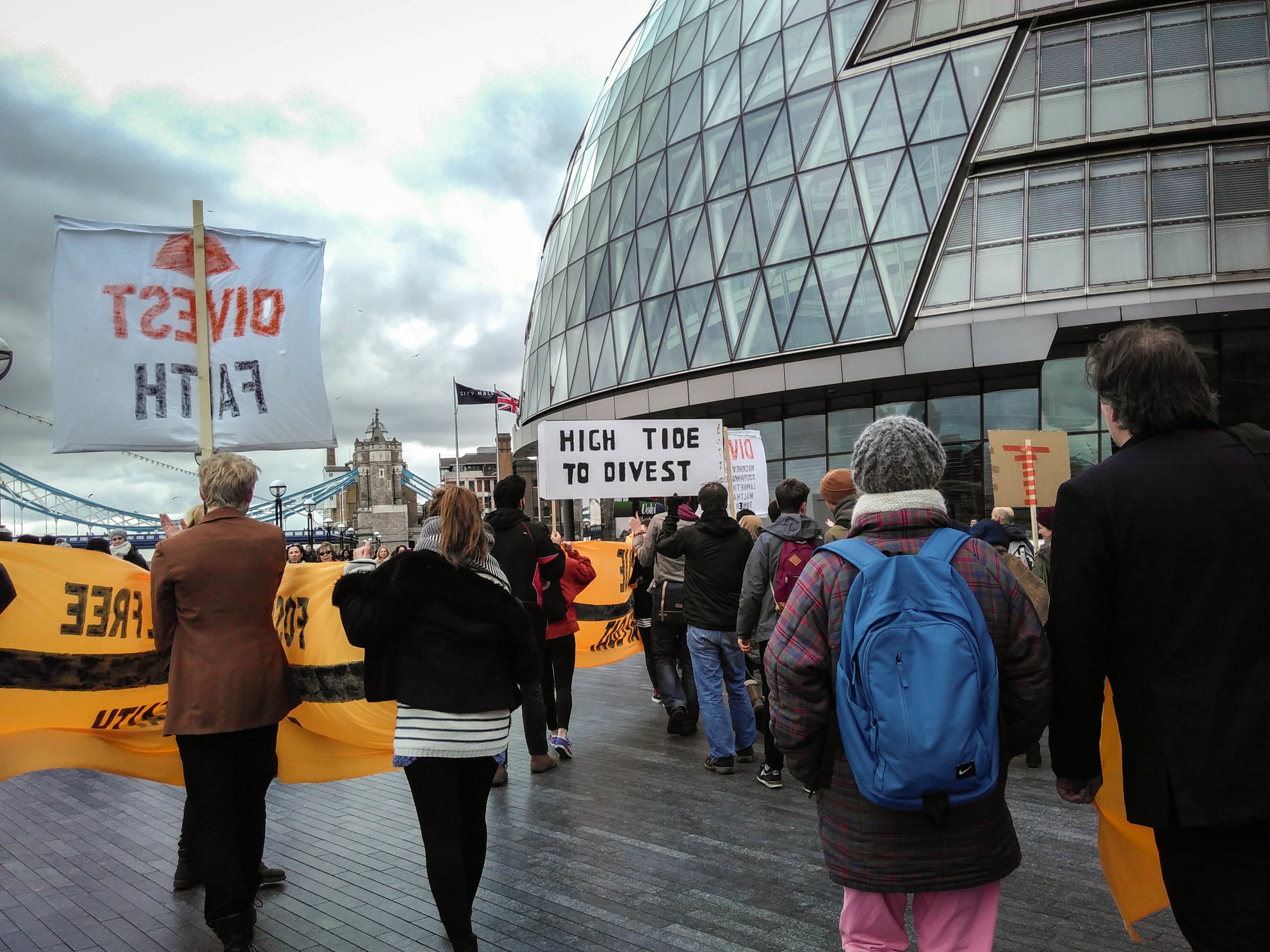 Divest London demo at City Hall - February 2016