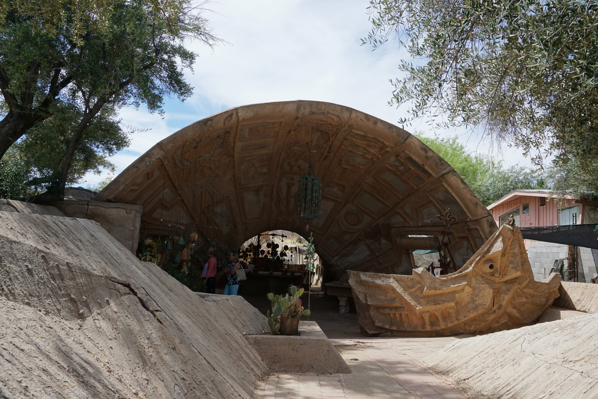 The roof panels were formed by sculpting the ground and then using rebar and concrete to create the shells.