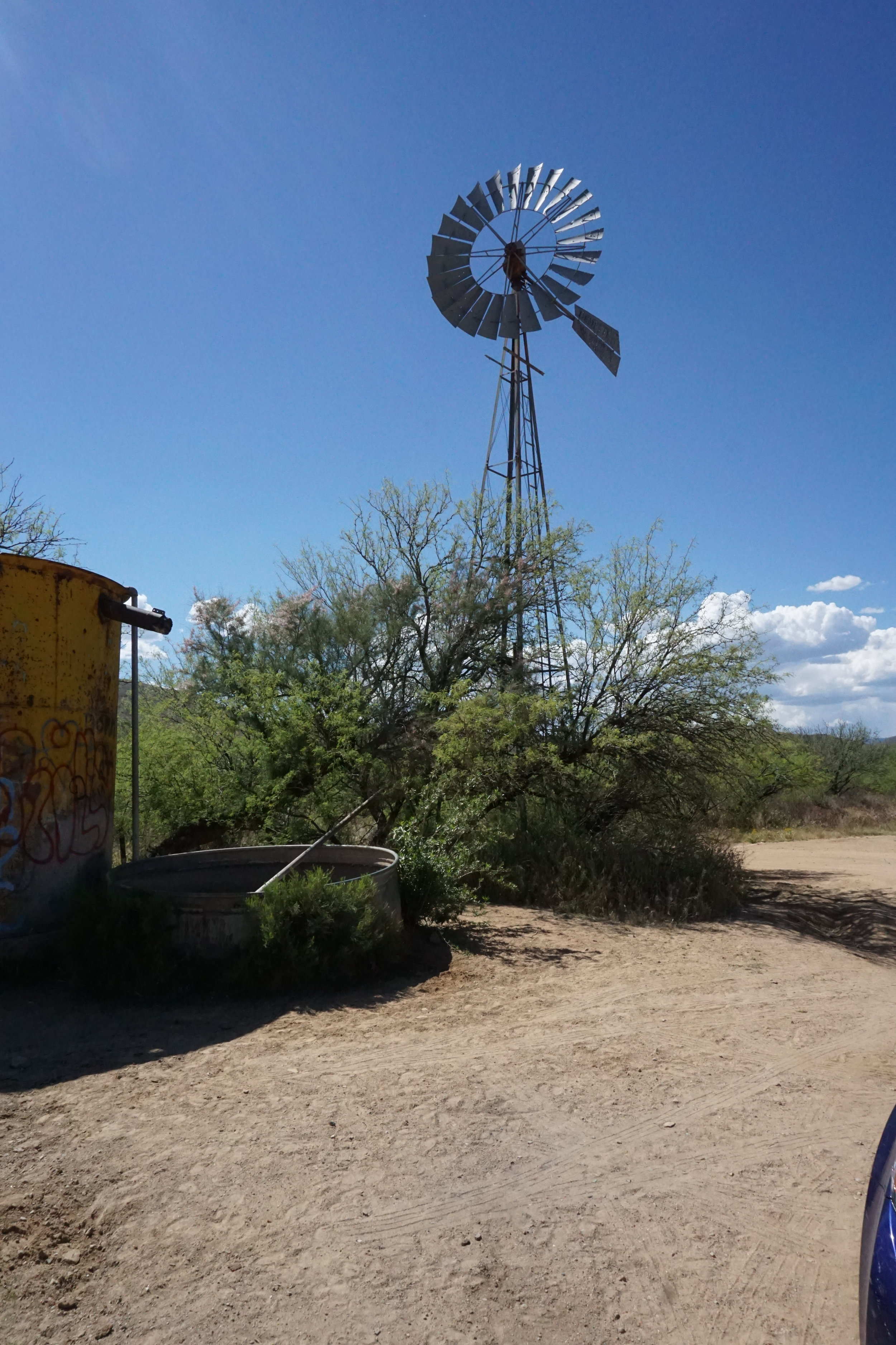 Windmill and well for cattle watering near Government Spring, just north of Bumble Bee, AZ