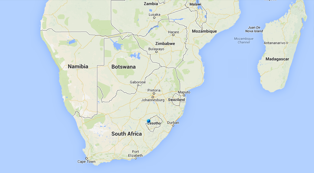 We are building in the capital of Lesotho, Maseru. Represented here by the blue dot.