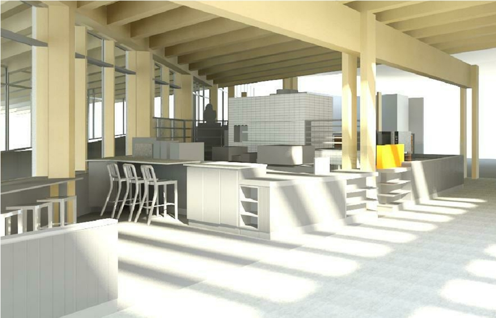 Rendering of the cafe.