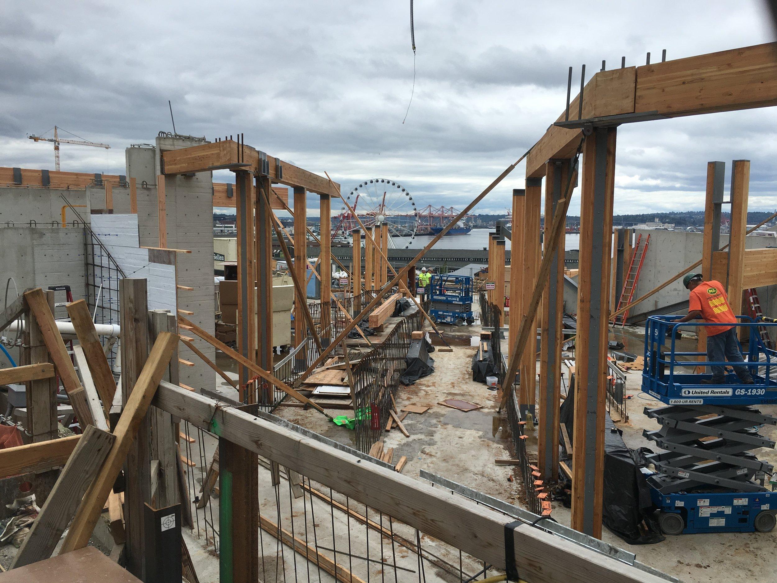 Pike Place Market Waterfront Entrance building under construction (looking Southwest)
